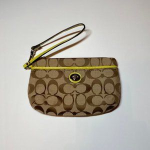 Coach Wristlet Brown and Yellow Women's